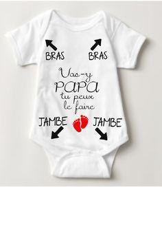 Body personnalisé idée cadeau naissance bébé humour pour papa vas-y papa tu  peux le 41c68d00804