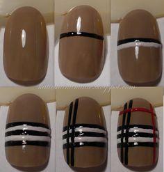 How to do Burberry nails: #diy #nails #nailart