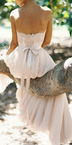 Blush tulle gown thought this was an elephant at first instead of a tree and got really excited