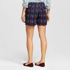 Women's Printed Chino Shorts Navy 10 - Merona, Blue