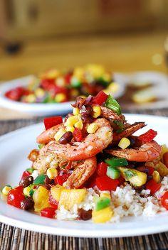 Shrimp with mango salsa and rice