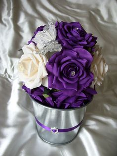 WEDDING TABLE DECORATION CENTERPIECE BUCKET CADBURYS PURPLE AND IVORY CREAM | eBay