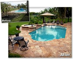 pool deck remodel before and after - Google Search