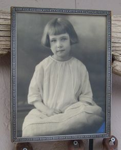 Vintage Portrait Young Child Wood Frame by cynthiasattic on Etsy, $25.00