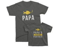 Papa and Papa's Fishing Partner. Matching T-Shirts for Grandpa and Grandson / Daddy and Son. Funny Birthday Gift Idea for him Fishing T Shirts, Fishing Gifts, Custom Items, Custom Shirts, Daddy And Son, Funny Birthday Gifts, Grandpa Gifts, Kids Shorts