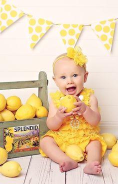 child portrait lemon yellow fruit