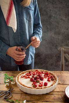 Tarta de fresas y panna cotta