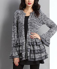 Look what I found on #zulily! Charcoal Melange Ruffle Cardigan #zulilyfinds