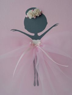 Ballerina nursery wall art in white pink and grey. by FlorasShop Nursery Wall Art, Nursery Decor, Ballerina Nursery, Tulle Decorations, Ballerina Silhouette, Pink Tutu, The Little Prince, Crafts To Do, Cute Gifts