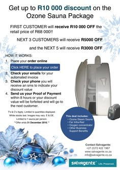 Christmas PROMOTION at Salvagente! Don't miss out, contact us today.  View full offer here: http://www.salvagente.co.za/ozone-saunas/promotion-get-up-to-r10-000-discount-on-the-ozone-sauna-package/