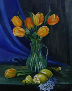 Oil painting ,Yellow tulips , still life , original oil painting, floral paintings, vase with Flowers fine art