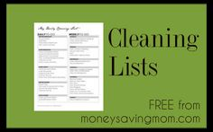 General cleaning lists - Love these lists. Great in a binder. Her site also has a coupon section.