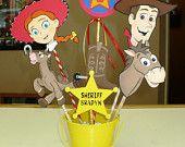 Disney Toy Story Birthday Centerpiece with Woody, Jessie Toy Story Party on sale. $22.00, via Etsy.