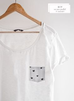 Add a cute pocket to your favorite white tee. | 41 Awesomely Easy No-Sew DIY Clothing Hacks