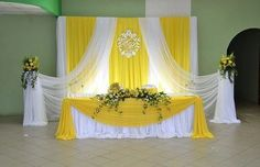 Cute and simple. Would do this if the venue and reception are in the same place. Wedding Stage Decorations, Backdrop Decorations, Party Decoration, Simple Stage Decorations, Yellow Decorations, Background Decoration, Wedding Background, Sweetheart Table, Backdrops For Parties