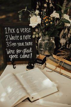 Bible verse guest book wedding chalk board table book centerpiece twine m. Wedding Book, Wedding Signs, Diy Wedding, Dream Wedding, Wedding Day, Wedding Church, Wedding Vintage, Trendy Wedding, Wedding Favors
