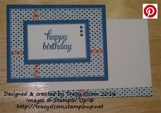 Masculine birthday card using the Tin of Cards Stamp Set and Moroccan Designer Series Paper (DSP) from Stampin' Up!  http://tracyelsom.stampinup.net