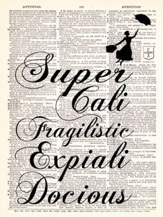 Mary Poppins Super Cali Fragilistic Dictionary Print Book Page Art Print UpCycled