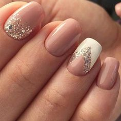 Sparkly Neutral and White Nail Art Design for Prom #Authenticlove