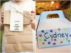 kids activity box or paper bag at weddings. Love that there are ideas for older kids too.