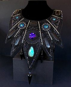 Free Shipping Bead Embroidery Collar Necklace Statement by Vicus