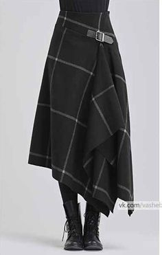 Modern take on a kilt in black with white windowpane pattern - - Kochen - Jupe Trendy Dresses, Nice Dresses, Fashion Dresses, Maxi Dresses, Evening Dresses, Mode Outfits, Skirt Outfits, Sewing Clothes, Diy Clothes