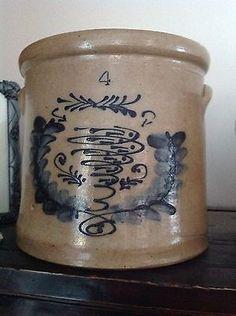 eBay * http://www.ebay.com/itm/RARE-Antique-Stoneware-4-Gallon-Crock-w-Cobalt-Blue-Fish-Swimming-1800-039-s-/141153335915?ssPageName=ADME:B:SS:US:1123