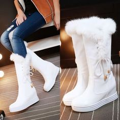 Women Winter Pull On Fur Top Mid Calf Boots Hidden Wedge Heel Platform Shoes - Boots - Womensshoes Lila Outfits, Mode Outfits, Girls Knee High Boots, Girls Shoes, Shoes Women, Winter Shoes For Women, Kawaii Shoes, Cute Boots, New Shoes