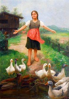 Mother Goose ~ Paul Hermann Wagner  ~ German Painter 1852-1937