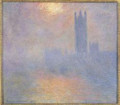 Monet - Londres, Le Parlement, trouée de soleil dans le brouillard