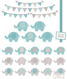 Vintage Blue Elephants and Patterns by Amanda Ilkov on @creativemarket