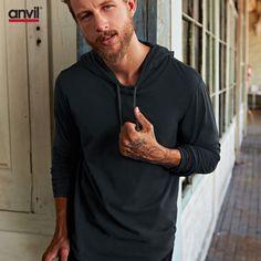 Anvil hooded tee plain long sleeve tshirt | blank clothing online basic streetwear