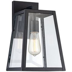 Arrington Modern Outdoor Wall Light Fixture Mystic Black 10 Clear Glass Antique Edison Style Bulb for Exterior House Porch Patio Deck - John Timberland Outdoor Wall Light Fixtures, Modern Outdoor Wall Lighting, Black Outdoor Wall Lights, Outdoor Walls, Landscape Lighting, Outdoor Spaces, Outdoor Decor, Glass Panel Wall, Glass Panels