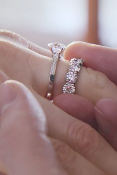 When it comes to love, there are no rules. Mix and match your diamond engagement ring and wedding band to create your unique combination at Forevermark.com. Shown here is a round solitaire engagement right with pavé band, accompanied by a round diamond eternity band.