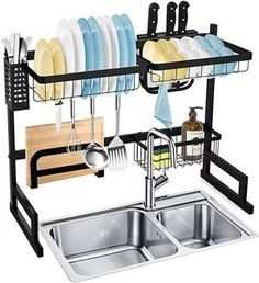 HTY™-Drain rack!Multi-Function Dish Drying Rack Over Sink Display Stand Stainless Steel Kitchen Storage Shelf Holder