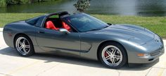 2004 Corvette Coupe - Rare Spiral Gray with Torch Red Interior split 5 star wheels grey