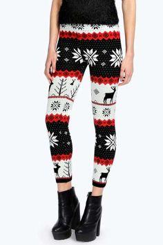 Mindy Fairisle Reindeer Knitted Leggings at boohoo.com - I reeeeeeaaaaalllyyyy like these