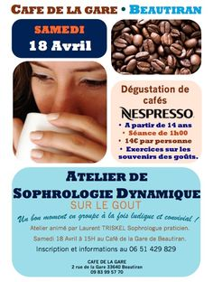 Super expérience sur le café, à découvrir samedi prochain! Sophrologie + Dégustation de café Cafe Nespresso, Café Restaurant, C'est Bon, Beans, Vegetables, Food, Coffee Tasting, Train Station, Catering Business