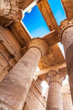 Temple of Kom Ombo Tall columns and parts of the. - Temple of Kom Ombo Tall columns and parts of the ceiling at the ancient Egyptian temple at Kom Ombo - Ancient Ruins, Ancient Artifacts, Ancient History, Mayan Ruins, Art History, Ancient Egyptian Architecture, Architecture Antique, Old Egypt, Egypt Art