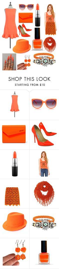"""Neon Orange"" by madmaggie20 on Polyvore featuring moda, Ted Baker, Jimmy Choo, MAC Cosmetics, Christopher Kane e BarakÃ"