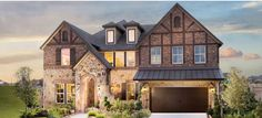 New home construction 2015, DFW, Texas.  Notice intricate brick and stone work - very popular today in DFW suburbs.  Builder: Meritage Homes.