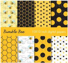 Bumble Bee Honeycomb Digital Paper Pack Digital Scrapbook. $5.00, via Etsy.