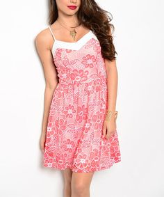 This Ivory & Coral Lace Sweetheart Dress is perfect! #zulilyfinds