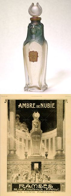 Ambre de Nubie perfume by Ramses, bottle in the form of a lion canopic jar and made by Baccarat glass, first made in 1919, magazine advertising is from 1920. Egyptian Revival