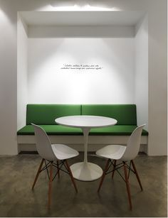 I love the simplicity of the quote on the wall and the touch of green.