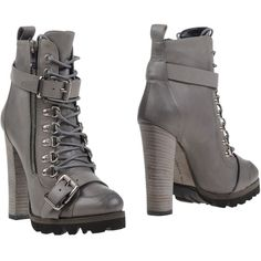 Barbara Bui Ankle Boots ($405) ❤ liked on Polyvore featuring shoes, boots, ankle booties, grey, short boots, grey ankle boots, gray booties, gray leather boots and grey leather booties