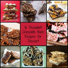 16 Decadent Chocolate Bark Recipes for Dessert - These homemade candy recipes are perfect for the holidays or anytime!