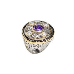 """GILLIAN RING - The Gillian Ring is brimming with shine and character! This unmissable piece features an amethyst stone at its center, anchored by clear CZ's at each corner. Two toned and textured, Gillian is a filigree vision!  - Gold and silver plated, CZ - 1 1/4"""" wide - Sizes 5-9 $64.00 www.michell.kitsylane.com"""