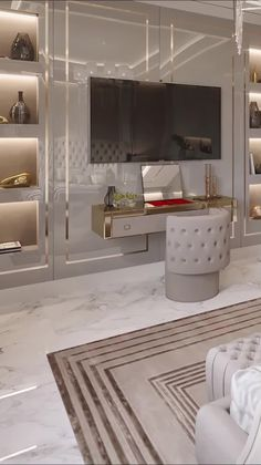 Modern Luxury Bedroom, Master Bedroom Interior, Luxury Bedroom Design, Luxurious Bedrooms, Living Room Interior, Luxury Living, Bedroom With Tv, Lux Bedroom, Modern Tv Room