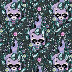 17 X 22 ins Tula Pink Acacia Raccoons in Blueberry by janeymacshop